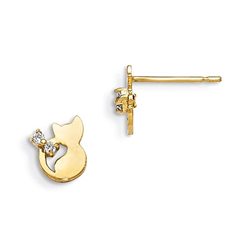 Lex & LU 14 K Gelb Gold MADI K CZ Kinder 'S CAT Post Ohrringe lal76587 (Cat-post-ohrringe)
