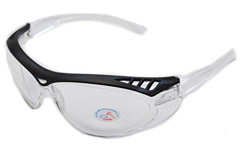 Sportliche Schutzbrille Plastikbrille Radbrille Arbeitsschutz ANSI Z87.1 CE-Norm -SCHWARZ/KLAR-