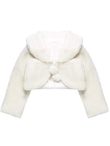Bianco scialle delle principesse involucri da pelliccia principessa da ragazza accessori per bolero delle ragazze di fiore principessa capo festa matrimonio vestire (m, 4 anni - 7 anni)
