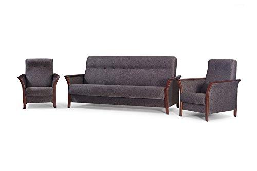 mb-moebel Polstergarnitur 3er Sofa und Zwei Sessel Couch mit Bettkasten und Schlaffunktion Wohnzimmer Set 311 Barbados Schokolade