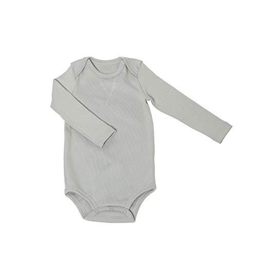 Warmer Baby-Body Jungen & Mädchen | Atmungsaktive Bio-Baumwolle: Ideal für Herbst und Winter | Kein Schwitzen | 100% GOTS-Zertifiziert: Ideal für empfindliche Neugeborenen-Haut | Fair-Trade, Grau, 50