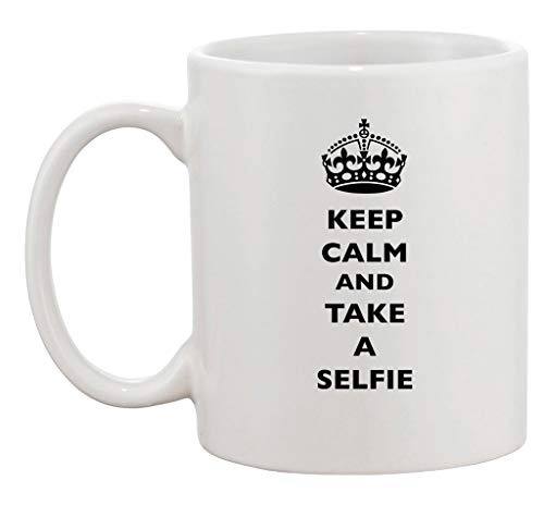 Keep Calm and Take A Selfie King Queen Funny Ceramic White Coffee 11 Oz Mug