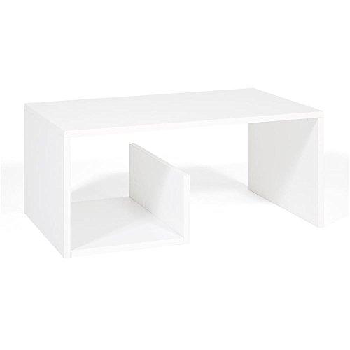 Mobilifiver snake tavolino da salotto, legno, frassino bianco, 80.0x50.0x35.0 cm