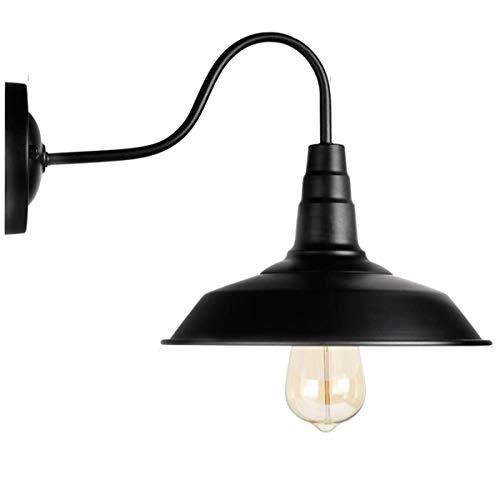 Amerikanische Vintage schwarz Wandleuchte Beleuchtung Schwanenhals Scheune Wandleuchte industrielle Bauernhaus Wandleuchte LED Veranda Licht for Indoor-Badezimmer - E27 Sockel -