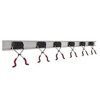 BRUNS Alu-Gerätehalter-Set | inkl. 6 Geräte-Haltern und Führungs-Schiene | Länge: 1000 mm