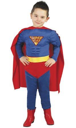 2 3 Kostüm Superman Jahre - Guirca Super Hero Kostüm für Jungen Gr. 98-146, Größe:98/104