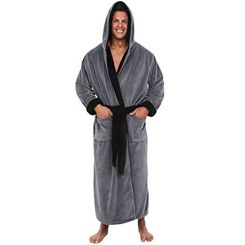 Aoogo Herren Saunamantel Winter Verlängert Plüsch Schal Bademantel Home Kleidung langärmelige Robe Mantel Morgenmantel