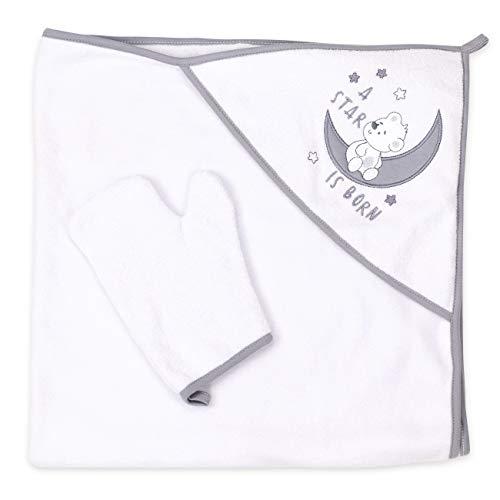 Baby Sweets Kapuzenhandtuch Baby + Waschlappen weiß grau | Motiv: A star is born | Babyset Badetuch & Waschhandschuh für Neugeborene & Kleinkinder | Einheitsgröße