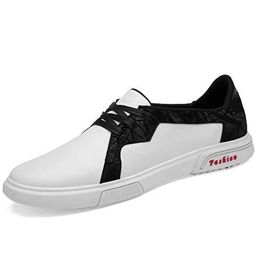 HILOTU Scarpe Eleganti da Uomo Casual Mocassini Piatti Leggeri Sneaker Stringata in Pizzo Bicolore Antiscivolo (Color : Bianca, Dimensione : 37 EU)
