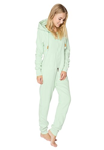 Eight2Nine Damen Sweat Overall | Kuscheliger Jumpsuit | Einteiler aus bequemen Sweat-Material einfarbig light-green S/M