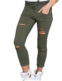 e861560f4876a Feidaeu Pantalón de Mujer Pantalones de algodón Agujero Flacos Nueve Puntos  Pantalones Vaqueros elásticos de Cintura