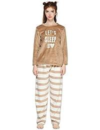 432247b8ca Pahajim Pijamas de Franela para Damas de otoño e Invierno Engrosamiento de  Pijamas caseros Pijamas más