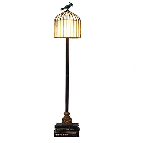 Stehleuchte Schlafzimmer Wohnzimmer Harz geschnitzte Buch Stehlampe, Vintage Birdcage Metalltuch Kunst Lampenschirm Säulen lesen Stehlampe LI CHUANG XIN