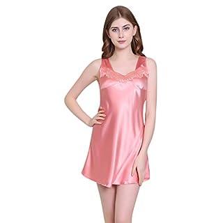 Yvelands Damen Nachtwäsche Sleeveless Printed Pyjamas,Dessous Frauen gedruckt Robe Kleid Babydoll Nachthemd Nachtwäsche Kimono Kleid(2XL, Pink)
