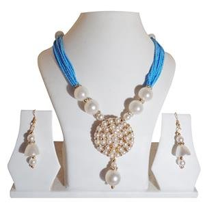 Jewellery Expert Skyblue-colour-Pearls Necklace Set for Women