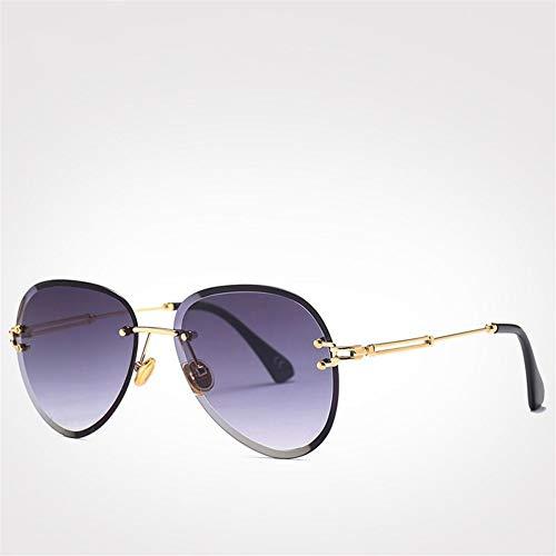 RZRCJ Mode Blau Rot Luftfahrt Sonnenbrille Frauen Männer Shades Uv400 Sonnenbrille Randlose Brille Für (Lenses Color : Gray Sunglasses) -