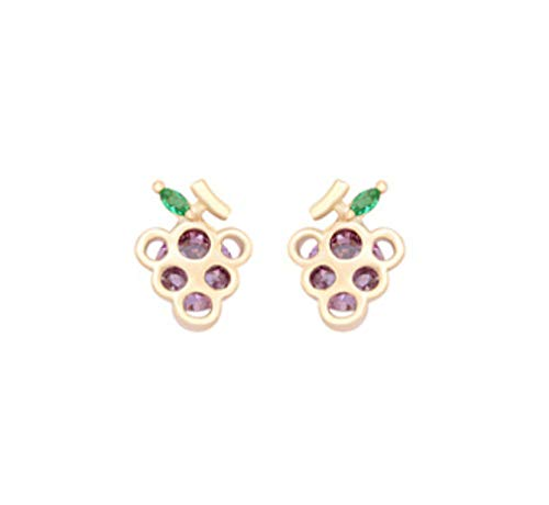 DAGE Grape wine, small fresh fruit, small earrings, women, delicate zircon, earrings, long hair, short hair