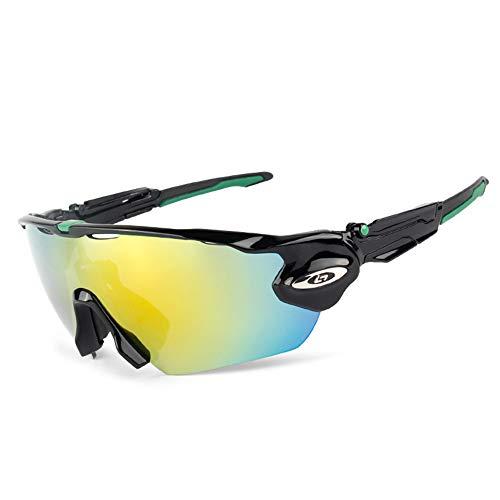 Polarisierte Sport-Sonnenbrille, 5 Wechselgläser, Herren- und Damen-Fahrradbrille Uv400 Lightweight Bike, Angeln, Laufen, Fahren, Golf (7 Rahmenfarben erhältlich),Blackgreen