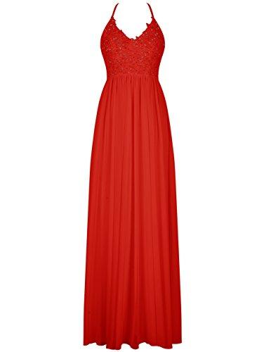 Dresstells Robe de demoiselle d'honneur Robe de cérémonie forme empire bretelles spaghetti longueur ras du sol Rouge