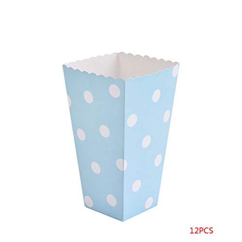 ELENXS 12PCS / Set Schöne Popcorn Box Süßigkeit sanck Favor Taschen Streifen-Geschenk-Beutel Hochzeitsfestbevorzugung Kinder Kino Party Supplies