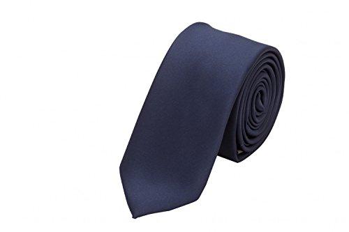 Fabio Farini - einfarbige und elegante Krawatte in verschiedenen Farben und Breiten zur Auswahl Dunkelblau 6cm