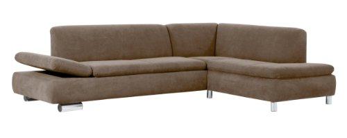 Max Winzer 28712632051753 Polsterecke Tournai 2.5-Sitzer mit Ecksofa rechts samtiges Flachgewebe, sahara