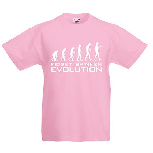 Kinder T-Shirt Die Evolution - Fidget Spinner (3-4 Years Pink Weiß)