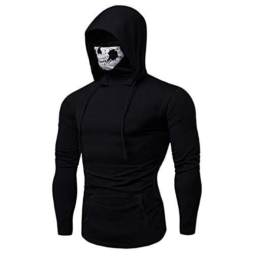 Herren Langarm Hoodies Mann Junge Herbst Winter Pullover Maske Schädel Reine Farbe Langarm Mit Kapuze Sweatshirt Tops Bluse Mit Taschen Moonuy
