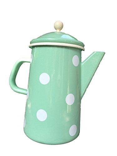 Münder de esmalte–Jarra de café–Tetera–Mint Lunares–12x H23cm–1,6L