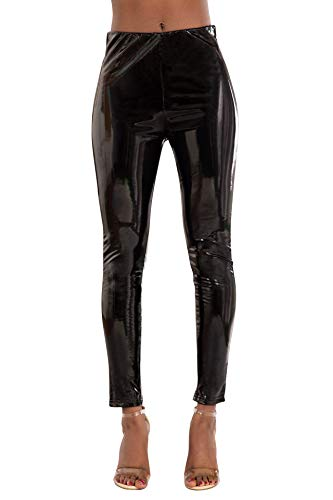 Glook Damen Kunstlederhose Skinny Fit Leggings, Damenhosen, Glatte Damen Hose, Frauen Lederhose (40, Schwarz)