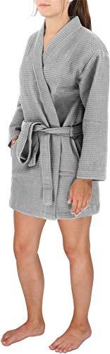 Damen 100% Baumwolle Kurze (Damen Morgenmantel Baumwoll-Kimono mit Waffelpique - Öko Tex 100 - Premium Qualität Farbe Grau Größe L)