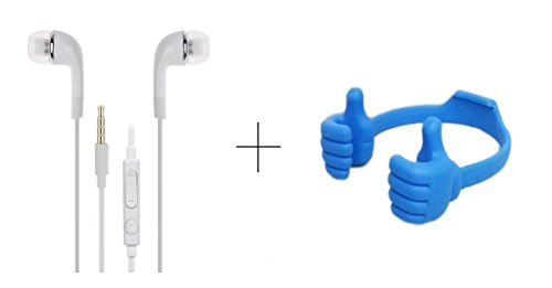Alba Case Premium Combo of Mobile Holder Mount ''OK Stand'' Blue and 3.5MM Stereo Dynamic White Earphones / Ear Buds With Mic and Volume Control Button Compatible with Coolpad Dazen 1 by AlbacaseTM