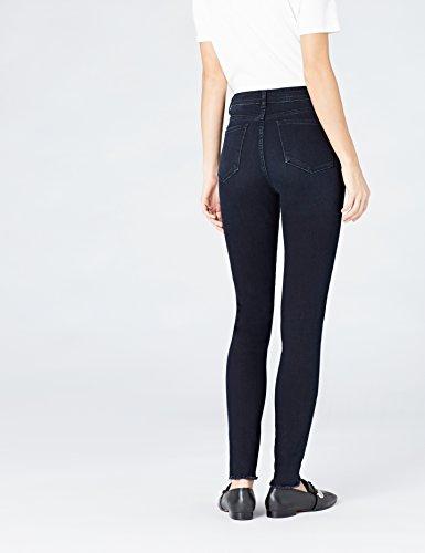 FIND Damen Skinny Jeans mit Fransensaum Blau (Dk Blue Black)