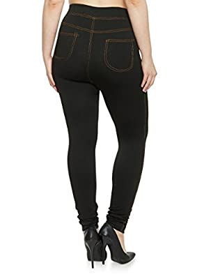 QRAFTINK Women's Lycra Jeggings- (Black,Large-Waist 32-34)