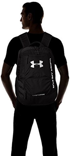 Best under armour bag in India 2020 Under Armour Unisex Team Hustle Backpack, Black (001)/Silver, One Size Image 5