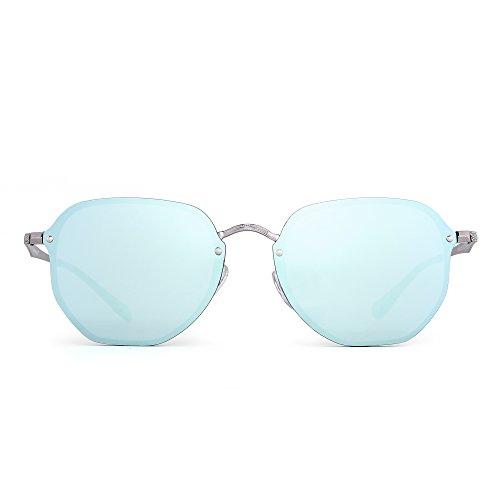 Occhiali da sole specchio senza montatura piccolo occhiali metallo polifonico chiaro uomo donna (argento/specchio blu)