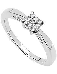 Die Diamantring-Sammlung: Schöner Diamant-Solitaire Look Verlobungsring im Sterlingsilber, Mutter Tagesgeschenk Ringgröße 48,49,50,52,53,55,57,58,59,61,62,63,65