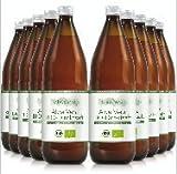 100% Aloe Vera Bio Direktsaft, 10x1.000 ml Flasche enthält 1200mg/Liter Aloverose, Aloe Barbadensis Miller, 100% Innenfilet, handfiletiert