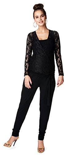 Noppies Damen Umstands-Jumpsuit Callie halbtransparente Ärmel- und Schulterpartie (40 (Herstellergröße: L), schwarz (black))