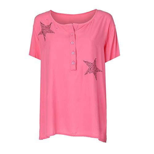 5b3ab9212 Camisa de Manga Corta de Botón de Mujer