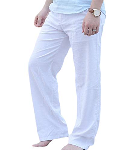CuteRose Men Pocket Straight Leg Pure Colour Pants Summer Linen Beach Trousers White S Relaxed Fit Pleated Chino-hose
