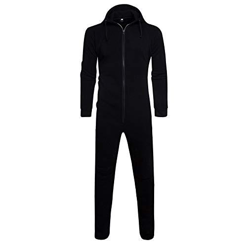Kanpola Herren Jumpsuits Herbst Winter Casual Jumpsuit Nachtwäsche Outwear Pullover Kapuzenpullover (Schwarz, 46)