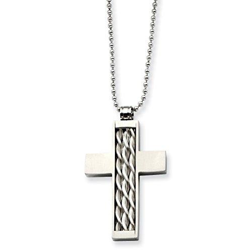 Acciaio inossidabile d'argento dell'intarsio Croce collana 24in