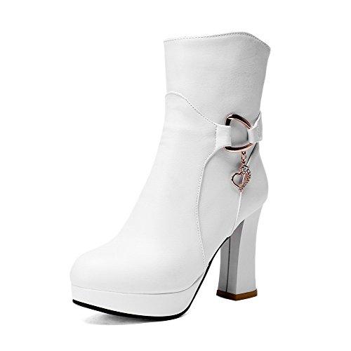 VogueZone009 Damen Reißverschluss Hoher Absatz Rein Anhänger Stiefel, Weiß, 38