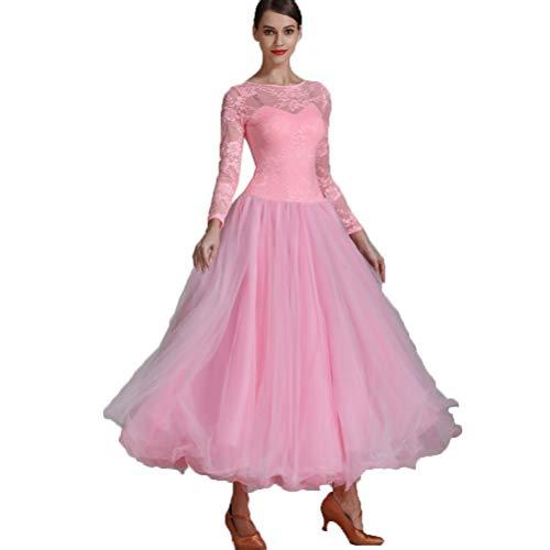 Waltz Kostüm - Spitze Spleißen Modern Ballsaal Tanz Performance Kleid Für Damen Klassisch Elegant Waltz Tanzpraxis Kostüm Tutu Tüllrock A-line Tango Tanz Abnutzung Big Swing,Pink,XL