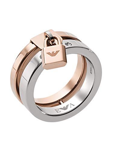 Emporio Armani Damen-Stapelring Edelstahl Kristall '- Ringgröße 59 EGS2580221-9 - Damen Zweifarbige