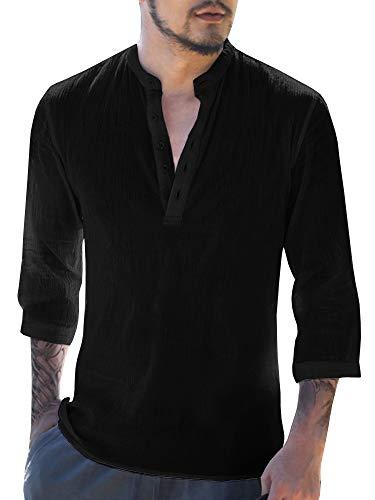 Gemijacka Herren Leinenhemd Henley Freizeithemd 3/4 Ärmellänge & Kurzarm Regular Fit Kragenloses Shirt -