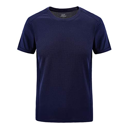 kolila Herren Mens T-Shirt Tops Sport Schnell trocknend Atmungsaktives T Hemden Einfarbig Lose Rundhalsausschnitt Kurzarm Plus Size Übergroße M-7XL(Dunkelblau,L)