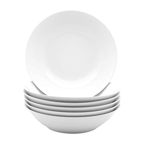 "Argon Tableware White Large Porcelain Pasta Salad Bowls - 253mm (10"") - Set of 6"
