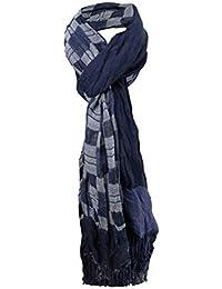 TigerTie plissé écharpe bleu foncé gris motif à carreau avec franges -  taille 190 x 70 88a2b07030e